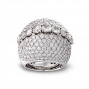 Ring with diamonds pavè in white gold - MD-B-AN4970F