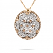 Necklace with pendant in rose gold, white gold and diamonds - MGI-R4N-CO5052F