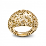 Medium rounded ring yellow gold and diamonds - MMN-G-AN4974F