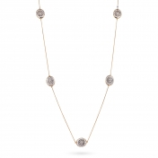 Double necklace rose gold, white gold, diamonds - MGI-R4N-CO5052F900