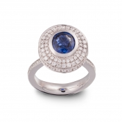 Ring with roud sapphire white gold diamonds - MMM-B-AN176ZAFF