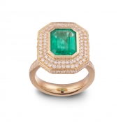 Ring with emerald, yellow gold and diamonds - MMM-G-AN01SME