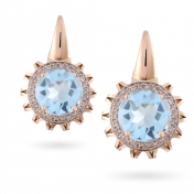 EARRINGS BLUE TOPAZ, ROSE GOLD AND DIAMONDS