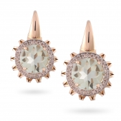 EARRINGS PRASIOLITE, ROSE GOLD AND DIAMONDS