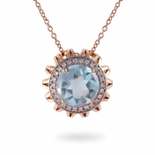 NECKLACE MAXI BLUE TOPAZ, ROSE GOLD AND DIAMONDS