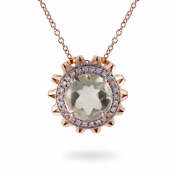 NECKLACE MAXI PRASIOLITE, ROSE GOLD AND DIAMONDS