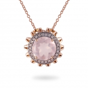 NECKLACE MAXI PINK QUARTZ, ROSE GOLD AND DIAMONDS