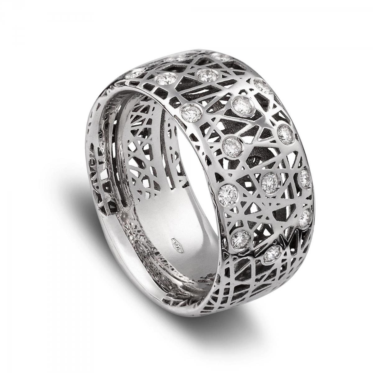 spesso Anelli in oro bianco con diamanti > Anello fascetta alto  HQ03