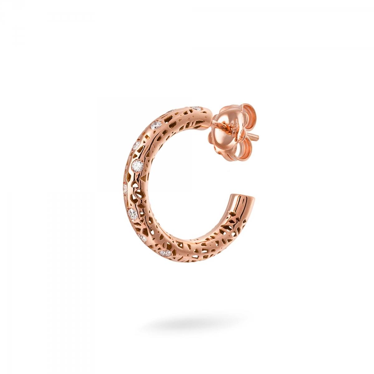 Amato Orecchini in oro rosa con diamanti > Orecchino cerchio piccoli  SE12