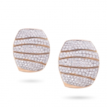 Earrings in rose gold and diamonds full pavè