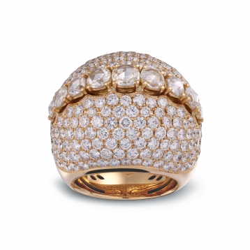 Ring with diamonds pavè in rose gold