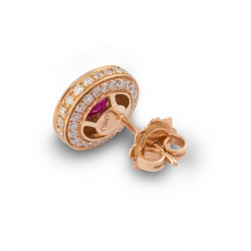 Earrings with ruby in rose gold and diamonds