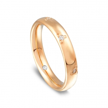 Wedding ring in rose gold Rosatenue® with diamonds demi pavè