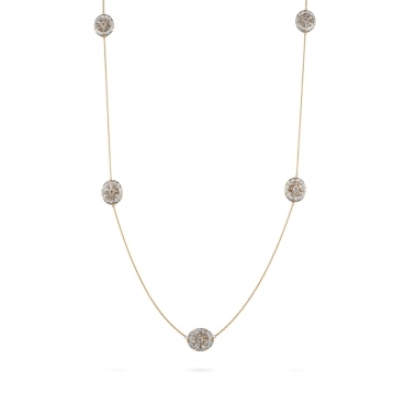 Necklace in rose gold, white gold and diamonds