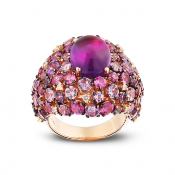 Rose gold ring with diamonds, amethysts and rose sapphires