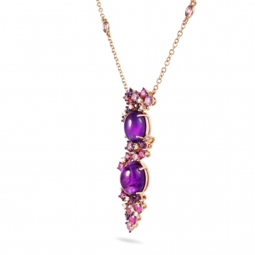 Rose gold necklace with diamonds, amethysts and rose sapphires
