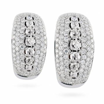 Earrings with diamonds pave in white gold