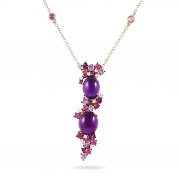 Collana in oro rosa, diamanti, ametista e zaffiri rosa