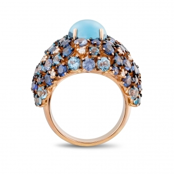 Rose gold ring, diamonds, topaz and blue sapphires