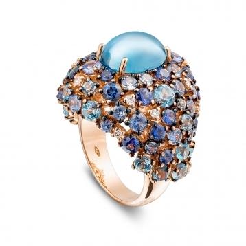Anello in oro rosa, diamanti, topazio blu london e zaffiri blu
