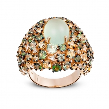 Ring, diamonds, prehnite, green and yellow sapphires - MN7-R4N-AN112PRH