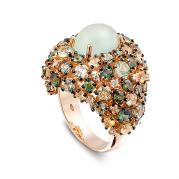 Ring in rose gold with prehnite and green and yellow sapphires