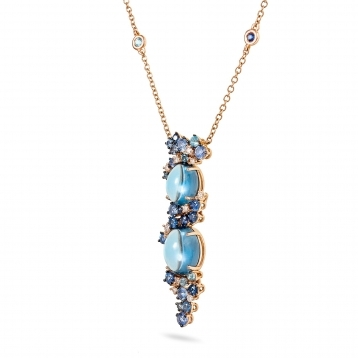 Rose gold necklace with diamonds, topaz and blue sapphires