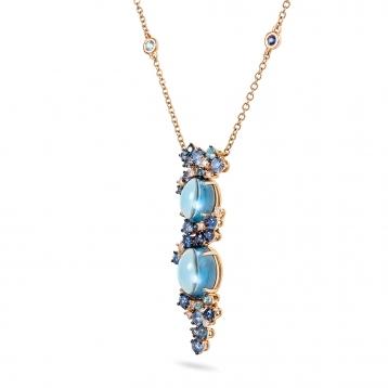 Collana in oro rosa, diamanti, topazio blu london e zaffiri blu