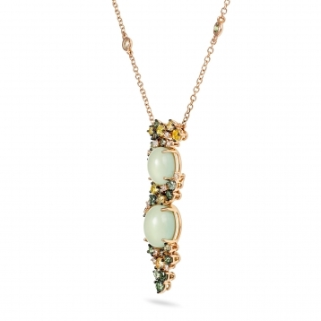 Necklace in rose gold with prehnite, green and yellow sapphires