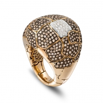 Large rounded ring in rose gold and brown diamonds