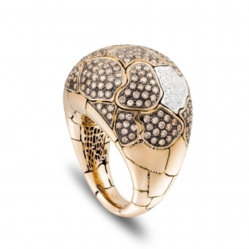 Medium rounded ring in rose gold and brown diamonds
