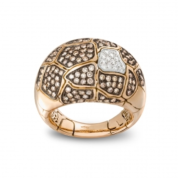 SMALL ROUNDED RING ROSE GOLD AND DIAMONDS