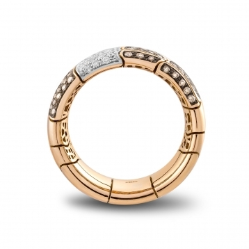 Wide band ring in rose gold and brown diamonds