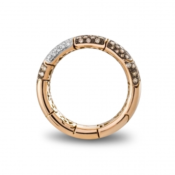 Narrow band ring in rose gold with brown diamonds