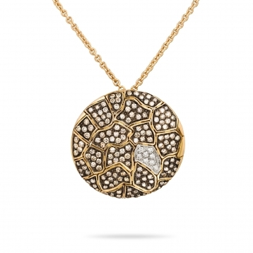 Necklace with pendant rose gold and brown diamonds