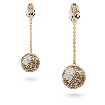 Orecchini sfera full pavè di diamanti brown e oro rosa