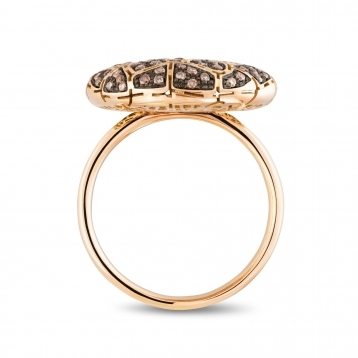Plateau ring in rose gold and brown diamonds