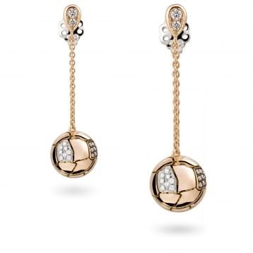 Earrings with brown diamonds demi pavè and rose gold