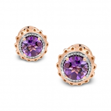 Mini Earrings Rose Gold and Amethyst