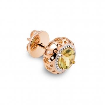 Mini Earrings Rose Gold and Lemon Quartz