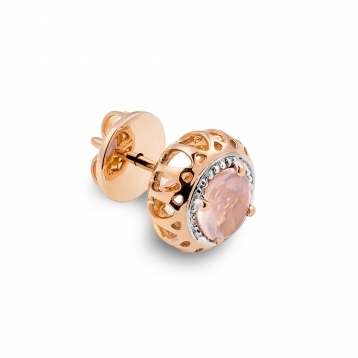 Mini Earrings Rose Gold and Pink Quartz