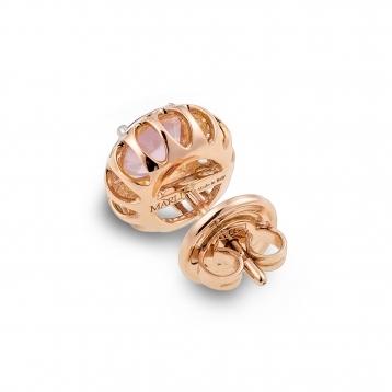 Orecchini Mini In Oro Rosa e Quarzo Rosa