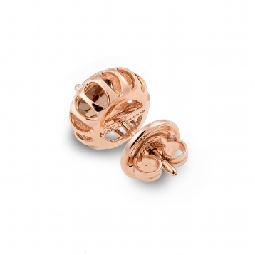 Orecchini Mini In Oro Rosa e Quarzo Fumè