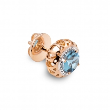 Mini Earrings Rose Gold and Blue Topaz