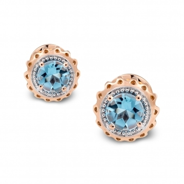 Marli Lollipop - Mini Earrings Blue Topaz Rose Gold  MLPMI-R4N-OR111TPA