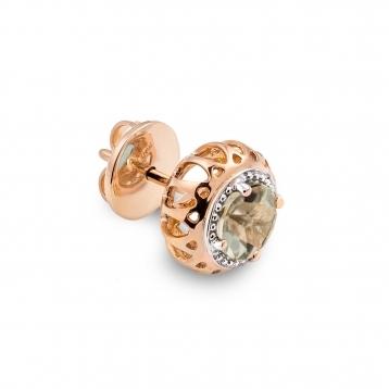 Mini Earrings Rose Gold and Prasiolite
