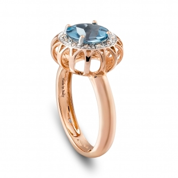 Ring in rose gold, blue topaz and diamonds
