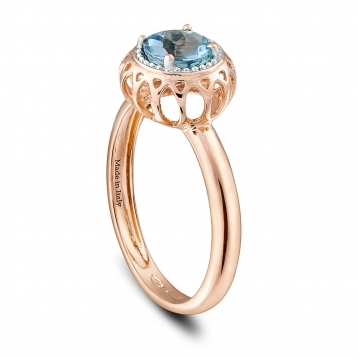 MINI RING ROSE GOLD AND BLUE TOPAZ