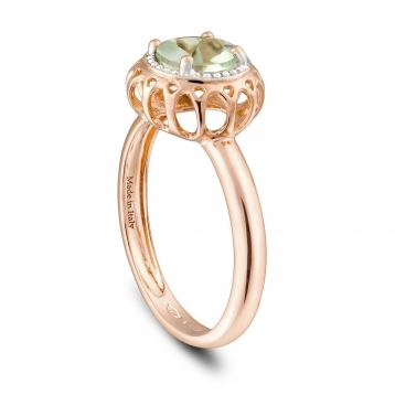 MINI RING ROSE GOLD AND PRASIOLITE