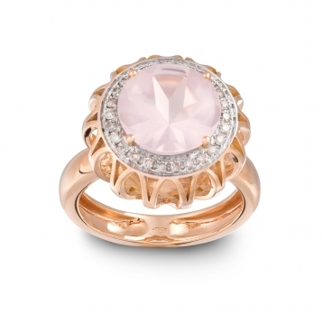 Anello Maxi In Oro Rosa, Quarzo Rosa e Diamanti Brown